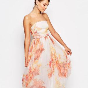 Comprar Vestido de graduación a media pierna con detalle de tul y estampado otoñal de flores de True Violet