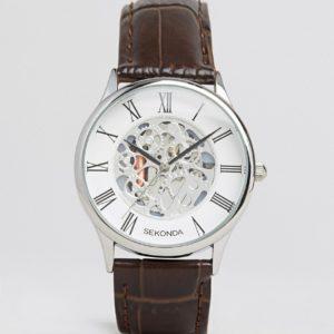Comprar Reloj de cuero marrón con engranaje mecánico expuesto exclusivo para ASOS de Sekonda