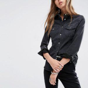 Comprar Camisa vaquera ajustada estilo western en negro desgastado de ASOS DESIGN