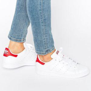 Comprar Zapatillas de deporte en blanco y rojo Stan Smith de adidas Originals