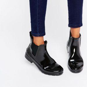 Comprar Botas de agua clásicas estilo Chelsea en color negro brillante Refined de Hunter Original