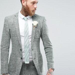 Comprar Chaqueta de traje muy ajustada de punto retorcido en verde y gris de ASOS Wedding