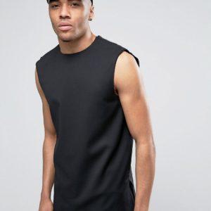 Comprar Camiseta de sastre sin mangas de vestir en negro de ASOS