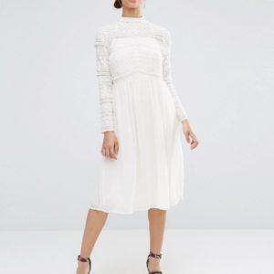 Comprar Vestido a media pierna con aplicación de encaje de ASOS
