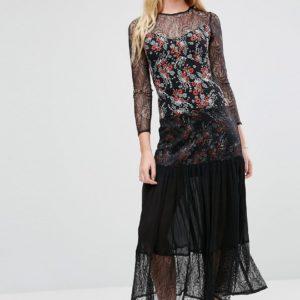 Comprar Vestido largo y plisado con aplicación de encaje con estampado de florecitas de ASOS PREMIUM