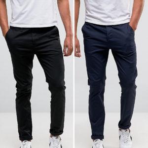 Comprar Pack de 2 chinos de corte slim en negro y azul marino de ASOS DESIGN