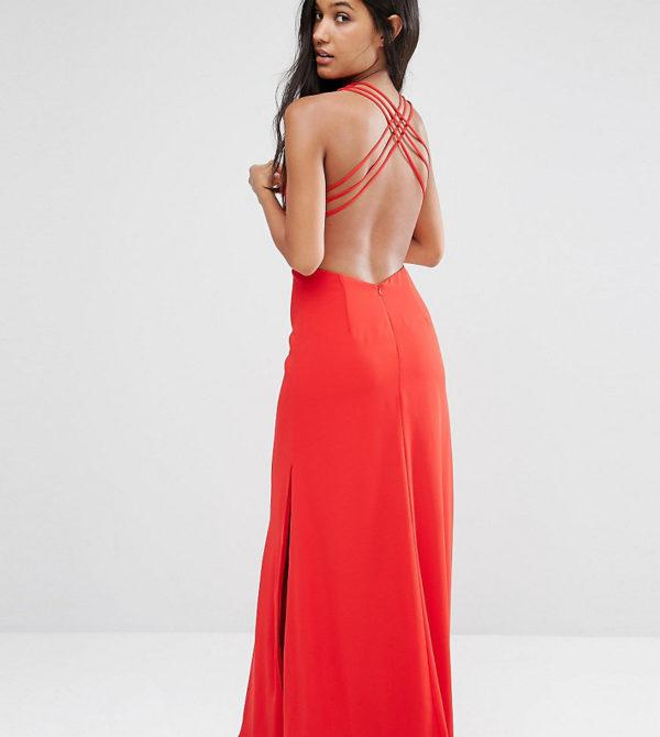 Comprar Vestido largo con detalle de espalda cruzada y aberturas de Fame and Partners