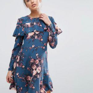 Comprar Minivestido de seda con volante y estampado floral de ASOS PREMIUM