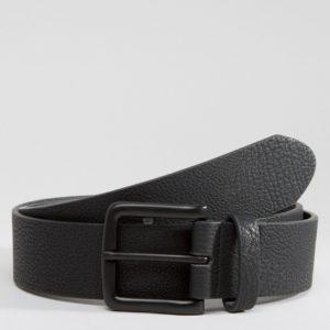 Comprar Cinturón ancho de cuero sintético con hebilla bañada en color negro de ASOS DESIGN