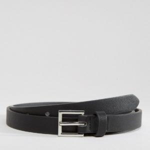 Comprar Cinturón muy fino de vestir en cuero sintético negro de ASOS DESIGN