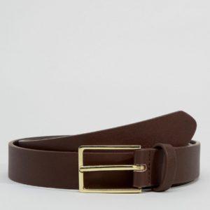 Comprar Cinturón de vestir estrecho en cuero sintético marrón de ASOS DESIGN