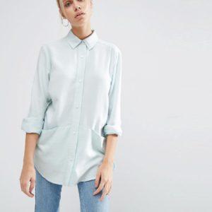 Comprar Camisa de sarga extragrande con detalle de bolsillo de ASOS