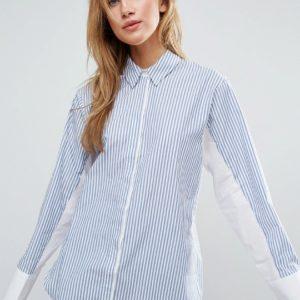 Comprar Camisa extragrande a rayas con manga murciélago en contraste de ASOS