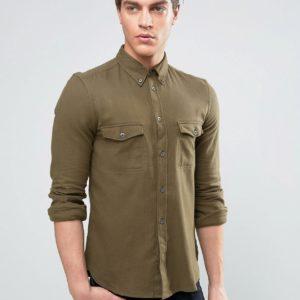 Comprar Camisa de franela de corte slim con dos bolsillos a cuadros de French Connection
