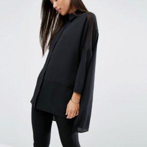 Comprar Camisa suave con diseño liso y detalles transparentes de ASOS DESIGN