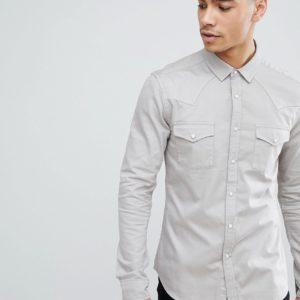 Comprar Camisa vaquera ajustada estilo western en gris claro de ASOS DESIGN