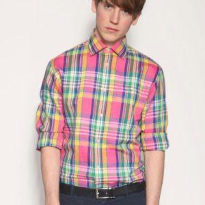 Comprar Camisa de lino de algodón con estampado escocés llamativo de Hackett