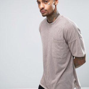 Comprar Camiseta extragrande con mangas anchas y bajo redondeado con lavado marrón de ASOS