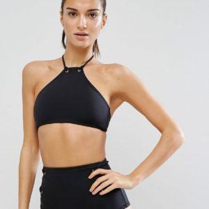 Comprar Top de bikini corto con cuello halter y ojales Mix and Match de ASOS DESIGN