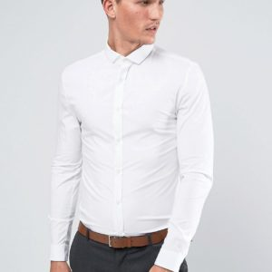 Comprar Camisa elástica entallada en blanco de River Island