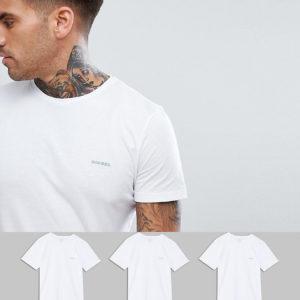 Comprar Pack de 3 camisetas blancas de corte estándar con cuello redondo y logo de Diesel