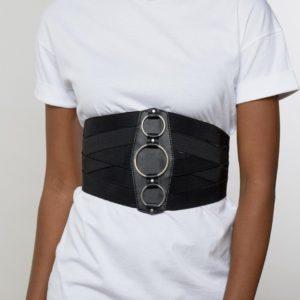 Comprar Cinturón ancho y elástico estilo corsé con detalle de anillas de ASOS