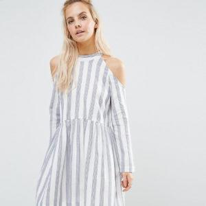 Comprar Minivestido amplio con hombros descubiertos de algodón con diseño a rayas de ASOS PETITE