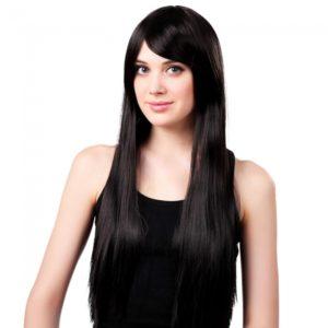 65cm Mujeres fibra sint¨¦tica Lado Flequillo largo recto peluca de pelo negro