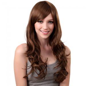 68cm Mujeres fibra sint¨¦tica Flequillo largo rizado peluca de pelo caf¨¦