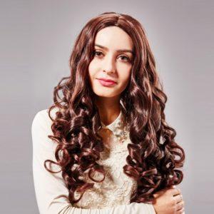 75cm Long Curly Fiber Woman Hair Full Wig Deep Brown