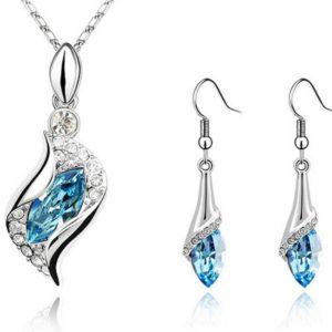 Pendientes del collar de la aleaci¨®n de gancho brillante pedrer¨ªa de cristal colgante conjunto azul claro