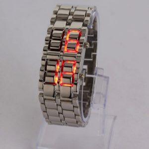 Pantalla lava volc¨¢nica reloj con Red digital LED de plata banda de acero