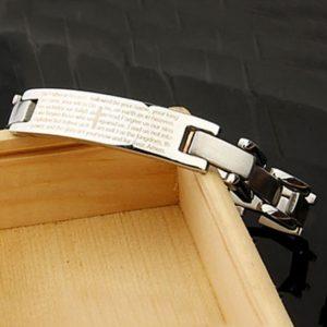 Plata de moda de titanio biblia del acero inoxidable de los hombres de la pulsera