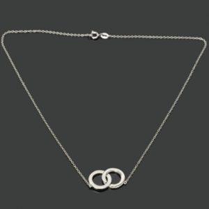 Plata Mujeres Dos Anillos Estilo 925 de plata platino plateado collar