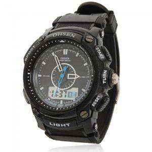 OHSEN Waterproof LCD Alarm Date Military Sport Quartz Watch Black