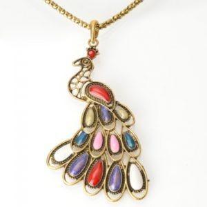 Pavo real colgante collar de bronce con la aleaci¨®n para las mujeres
