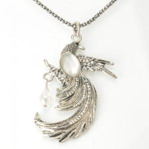 Pavo real antiguo pendiente de la aleaci¨®n y ¨®palo collar de plata para las mujeres