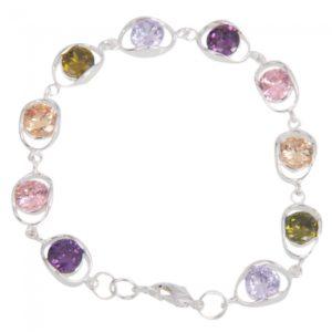 Brillante Brillante De forma ovalada de la piedra preciosa pulsera colorida