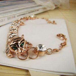 ?nico Leopard Estilo pulsera de las mujeres de oro