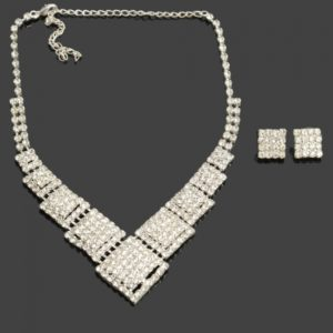 Weiya 50-1 Plaza Collar Stud Pendientes de novia joyer¨ªa de plata