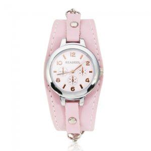 Y7 Ronda Dial pulsera de cuarzo con correa de reloj Gradualmente Thin Pink
