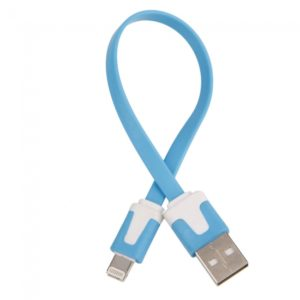 20cm de datos USB Flat cable de carga para iPhone 5iTouch 5 Blue Light