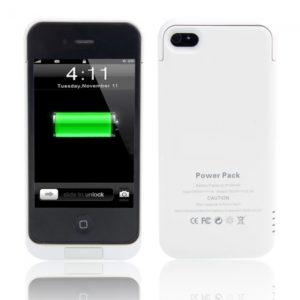 2100mAh Caja de bater¨ªa externa con soporte para el iPhone 4 / 4S Blanca