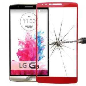 Premium Tempered Glass Screen Protector with Holder for LG G3 Red