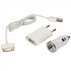 USB cable cargador conjunto de datos con el adaptador de coche para iPhone iPod Blanca