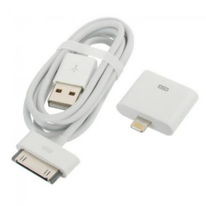 USB de 30 pines Cable adaptador + 30 pines a 8 pines Adaptador de rayos para el iPhone 5