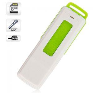 8GB Llaveros Grabador de Voz Digital USB Flash Drive UR-08 verde
