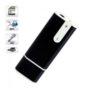 8GB MP3 Disco USB Grabadora de voz digital llaveros Negro