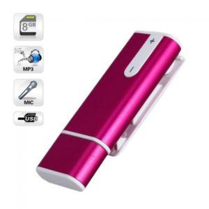 8GB MP3 Disco USB Grabadora de voz digital llaveros rojos