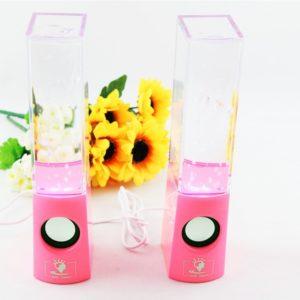 LED Light Dancing Water Speaker Box USB for PC MP4 Laptop Pink
